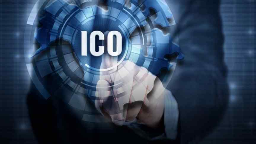 finger touching sphere with ICO written in white