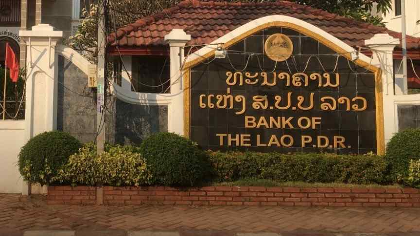 sign at entrance to Bank of the Lao P.D.R. building