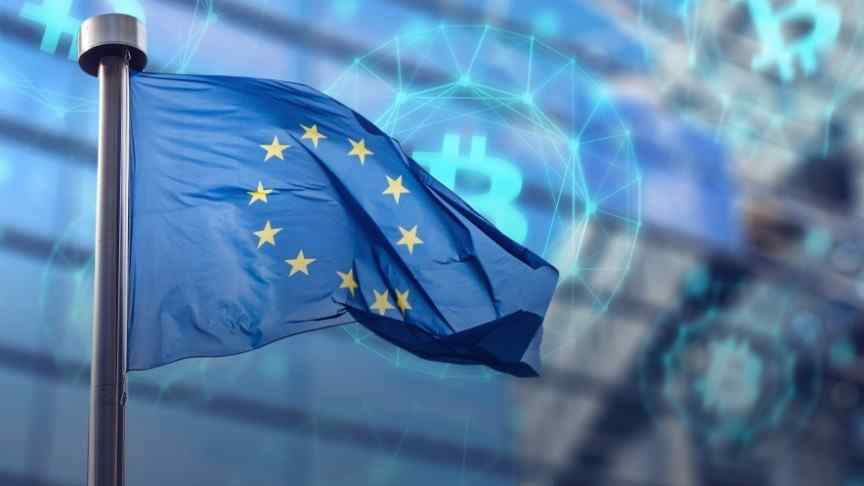 -EU flag waving on background of cryptocurrency logo in blue