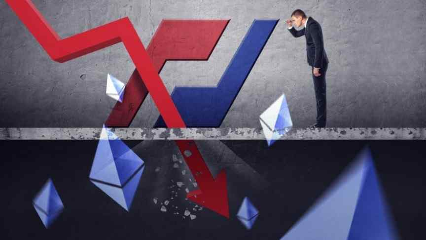 man standing over red graph pointing down, ethereum logos floating around, bitmex logo