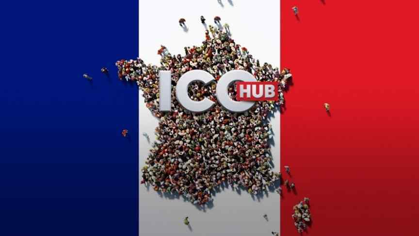 a crowd of people standing on the French flag, ICO Hub written in white and red