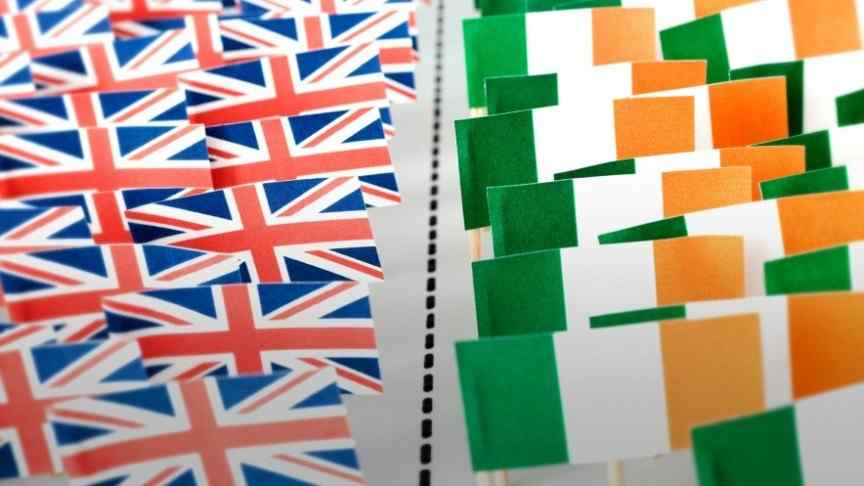 U.K flags on the left, Irish flags on the right, separated by a dotted line