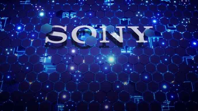 Sony name on blue background