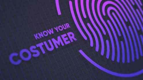 """Enlarged illustrated fingerprint next to a text saying 'Know your customer"""""""
