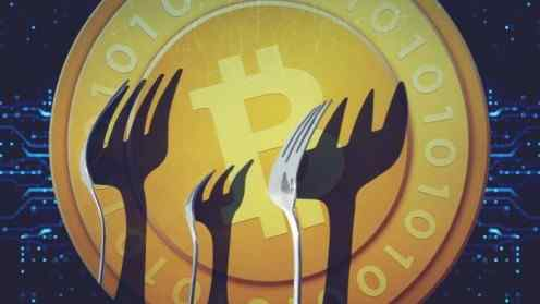 Illustration of three forks in front of a Bitcoin