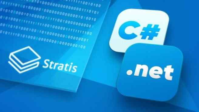 Illustration containing Stratis' C# Smart Contracts logo on a blue background