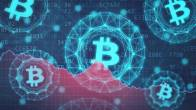 5 Bitcoin logos in bright blue floating on background of red graph and numbers