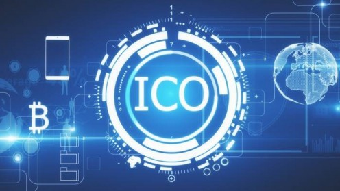 ICO in white surrounded by glowing digital coin in white. Bitcoin logo and smartphone on the left, earth on the right. Blue background