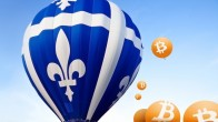 Blue hot air balloon on blue sky background, Bitcoin orange balloons floating around