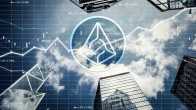 Augur logo on background o fskyscrapers, clouds and graph