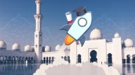 Stellar rocket logo with graduation hat and diploma flying over white mosque