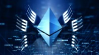 Ethereum logo in blue, forks coming out of it, dark blue background