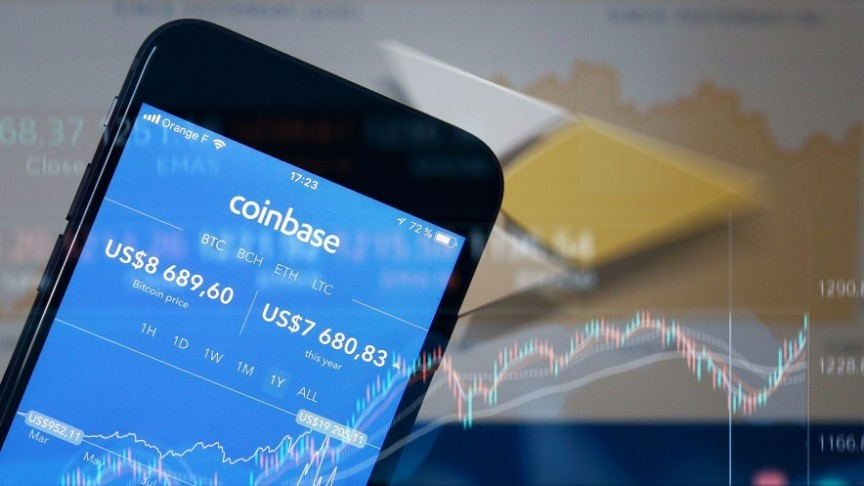 Coinbase app showing in blue on smartphone