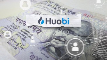 Huobi logo and name on Indian money bill