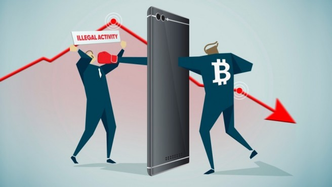 drawing of two people fist fighting through an iphone, Bitcoin written on back of right person, Illegal activity written on the other, red graph pointing downwards