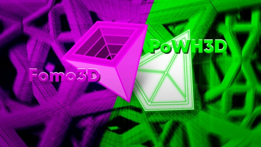 PoWH3D logo in green and Fomo3D logo in purple