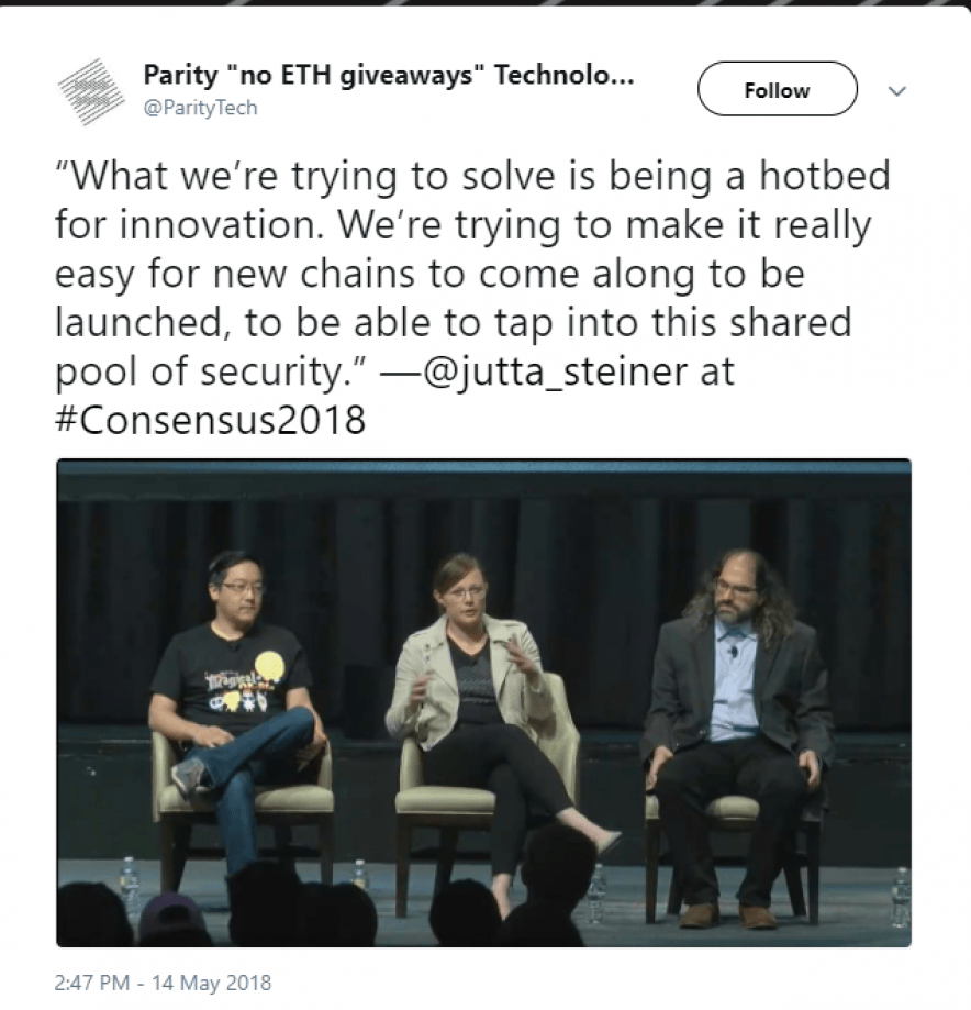 Twitter post for Parity Blockchain